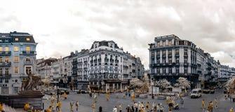 Panoramische infrarode mening van de straat van Brussel Stock Foto's