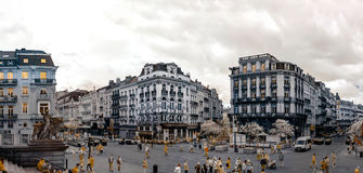 Panoramische Infrarotansicht von Brüssel-Straße Stockfotos