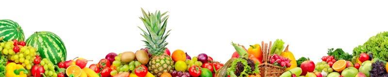 Panoramische inzameling van vruchten en groenten voor skinali stock foto
