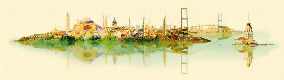Panoramische Istanbul-Ansicht der Vektorwasser-Farbillustration Stockfoto