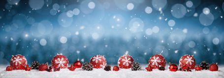 Panoramische Kerstmis siert achtergrond stock afbeelding