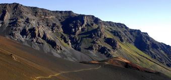 Panoramische krater Haleakala stock foto's