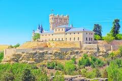 Panoramische Landschaft an der alten Stadt Segovia, Alcazar von Sego Lizenzfreie Stockfotos