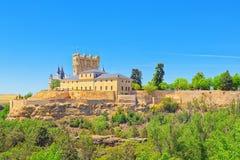 Panoramische Landschaft an der alten Stadt Segovia, Alcazar von Sego Stockfotografie