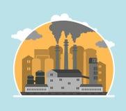 Panoramische Landschaft mit Konzeptverschmutzung Stockfotografie