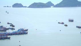 Panoramische Landschaftsansicht von Cat Ba City von Cat Ba Island, Vietnam Viele traditionellen Bootskosten im Golf stock video