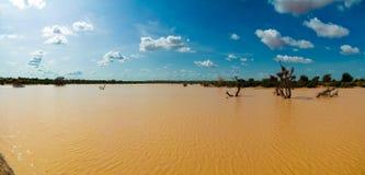 Panoramische landschapsmening aan de Sahel en oase Dogon Tabki met overstroomde rivier, Dogondoutchi, Niger royalty-vrije stock foto's