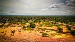 Panoramische landschapsmening aan de Sahel en oase, Dogondoutchi, Niger royalty-vrije stock afbeeldingen