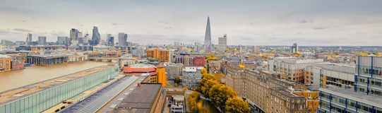 Panoramische luchtmening van centraal Londen in de Herfst Royalty-vrije Stock Afbeelding
