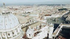 Panoramische luchtmening van het Vierkant van Rome en van Heilige Peter s, Vatikaan, Italië voorraad Mening van de koepel van Vat stock afbeeldingen