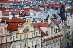 Panoramische luchtmening van Praag van het Kasteel van Praag, Tsjechische Republiek Stock Fotografie
