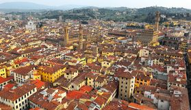 Panoramische Luchtmening vanaf de bovenkant van de kathedraal van Florence in Florence Italy royalty-vrije stock foto