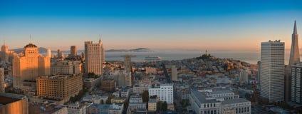 Panoramische Luftaufnahme San Francisco und Schachtbereich Lizenzfreies Stockbild