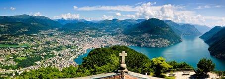 Panoramische Lugano Royalty-vrije Stock Afbeeldingen