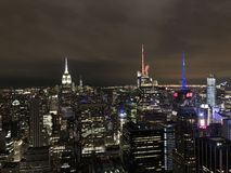 Panoramische nacht in de Stad van New York royalty-vrije stock foto