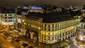 panoramische nachtmening van stedelijke vierkante tijdtijdspanne stock videobeelden
