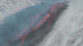 Panoramische rivier van lava stock videobeelden