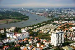 Panoramische scène van de stad van Azië Stock Foto