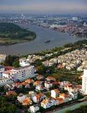 Panoramische scène van de stad van Azië Stock Afbeeldingen