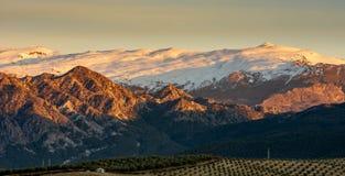 Panoramische schöne Ansicht der Strecke Sierra Nevada -schneebedeckten Bergs während der goldenen Stunde, Spanien lizenzfreie stockfotografie