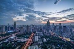 Panoramische Skyline von Shanghai Stockfotos