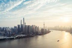 Panoramische Skyline von Shanghai Lizenzfreies Stockfoto