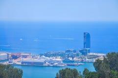 Panoramische Stadtbildansicht über Barcelona vom Montjuïc, Spai Lizenzfreies Stockfoto