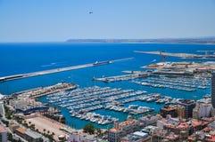 Panoramische Stadtbildansicht über Barcelona vom Montjuïc, Spai Lizenzfreie Stockfotos