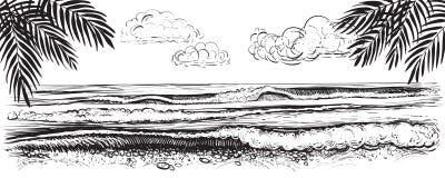 Panoramische strandmening Vectorillustratie van oceaan of overzeese golven Getrokken hand Stock Afbeelding