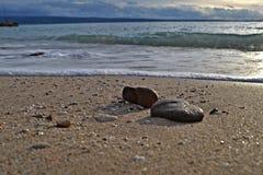 Panoramische Strandszenenansicht Lizenzfreie Stockfotos