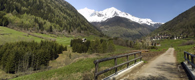 Panoramische val Di peio Stock Foto
