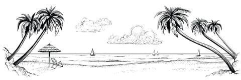 Panoramische Vektorstrandansicht Illustration mit Palmen und Sonnenschirm Handgemachte Schwarzweiss-Zeichnung Stockfoto