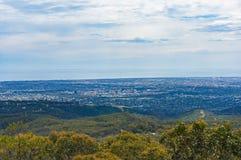 Panoramische Vogelperspektive von Adelaide-Stadt Stockbild