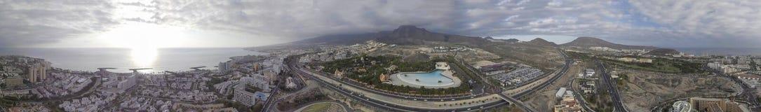 Panoramische Vogelperspektive von Costa Adeje-Skylinen, Teneriffa Lizenzfreie Stockfotos