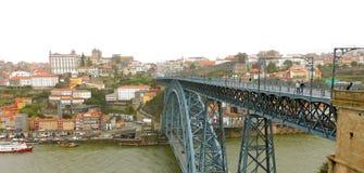 Panoramische Vogelperspektive von Dom Luis Bridge in Porto in einem schönen, Portugal stockbild