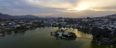 Panoramische Vogelperspektive von Las Lagunas im La Planicie lizenzfreies stockbild
