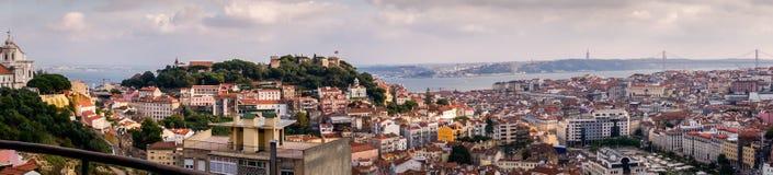 Panoramische Vogelperspektive von Lissabon, Portugal stockbild