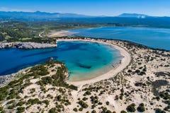 Panoramische Vogelperspektive von voidokilia Strand, einer des besten Strandes Stockfoto