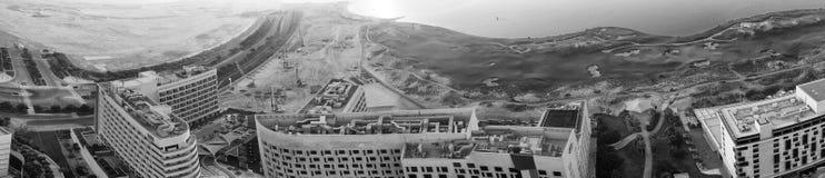 Panoramische Vogelperspektive von Yas-Inselwolkenkratzern, Abu Dhabi, UAE Stockfotografie