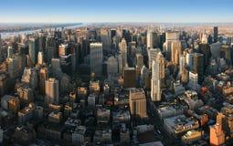 Panoramische von der Luftansicht über Manhattan, New York Stockfotos