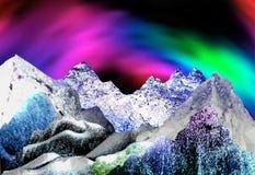 Panoramische Winterlandschaft mit Spitzen von Kristallen und von Polygonen Stockfotografie