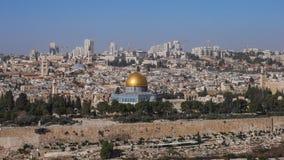 Panoramische, zonnige cityscape van Jeruzalem royalty-vrije stock afbeeldingen