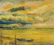 Panoramische Zonsondergangmening van de Rivier van Donau Royalty-vrije Stock Afbeeldingen