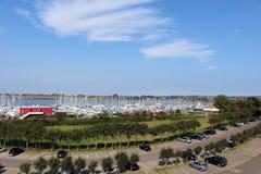 Panoramischer Blick über den Yachthafen von Burgtiefe u. von Fehmarn Stockfotografie