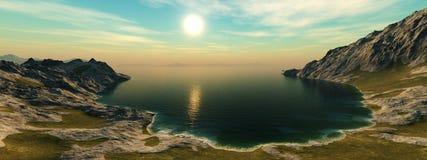 Panoramischer Meerblick felsige Lagunenansicht von den Höhen Stockfotografie