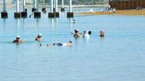 Panoramischer Schuss des Strandes des Toten Meers stock footage