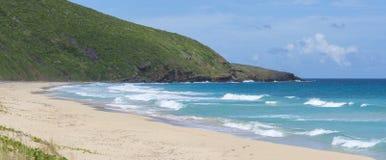 Panoramischer tropischer karibischer Strand Stockbilder