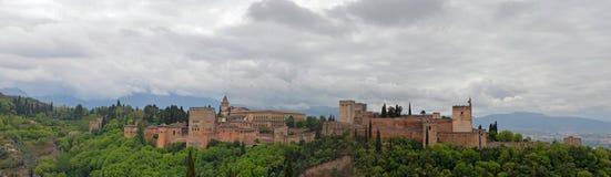 Panoramisches Alhambra grenada Lizenzfreie Stockfotografie