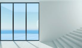Panoramisches Fenster und das Meer Lizenzfreies Stockfoto