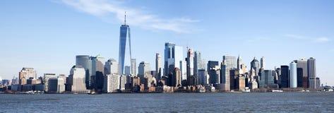 Panoramisches Foto der Manhattan-Skyline stockbilder